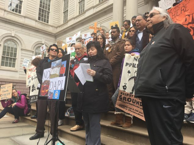 Betty Lyons, president of the American Indian Law Alliance, urges the mayor and the comptroller to divest from banks funding the Dakota Access pipeline.