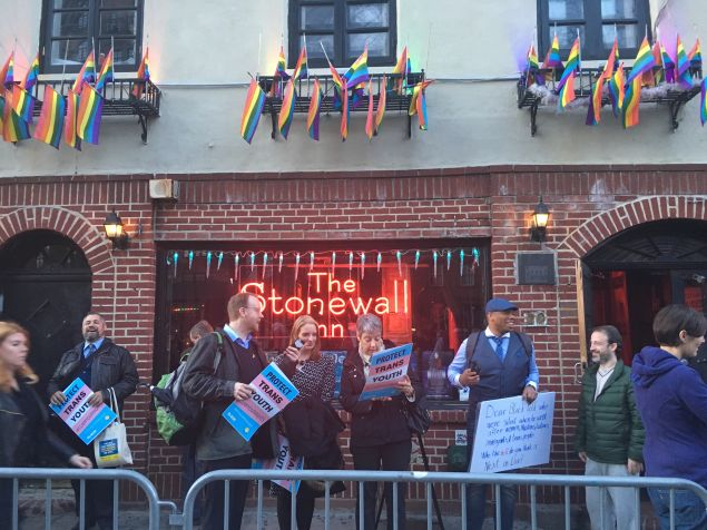 The Equality New York Political Action Committee hosted a rally on behalf of transgender students in front of the Stonewall Inn.