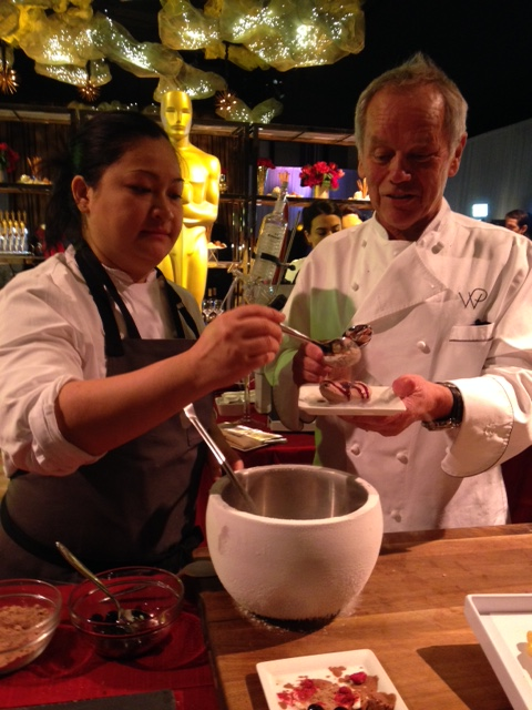 Chef Wolfgang Puck with Pastry Chef Monica Ng demonstrating using liquid nitrogen to create his Deconstructed Black Forest Cake
