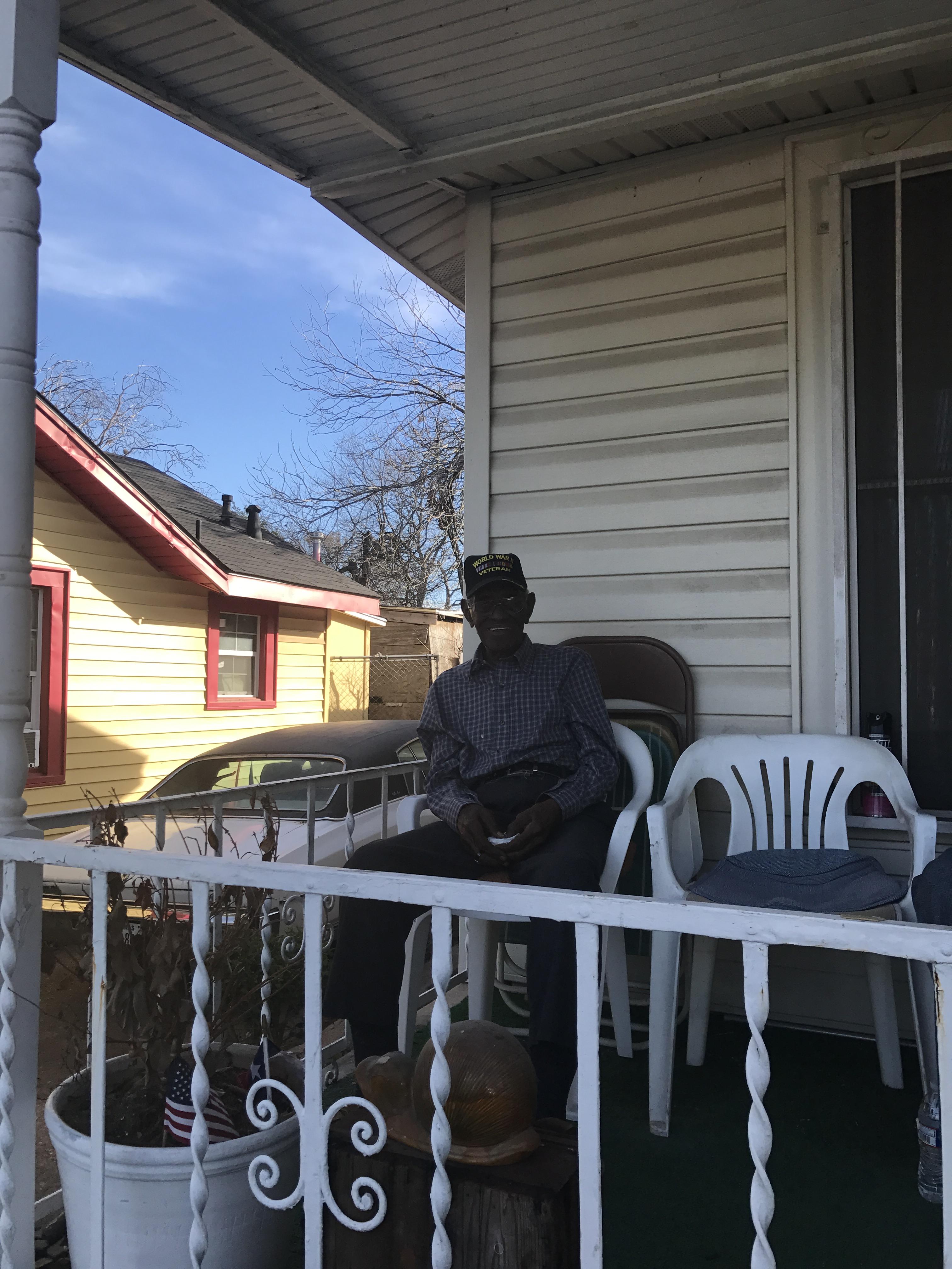 Richard on his porch.