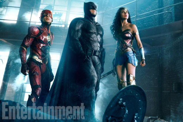 Ezra Miller as The Flash, Ben Affleck as Batman and Gal Gadot as Wonder Woman.