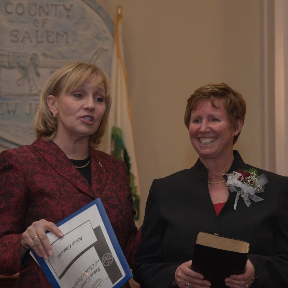 Kim Guadagno and Julie Acton in Salem County at a recent ceremony.