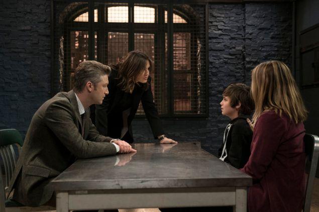 "Peter Scanavino as Dominick ""Sonny"" Carisi, Mariska Hargitay as Lieutenant Olivia Benson and Lincoln Melcher as Kyle Harris."