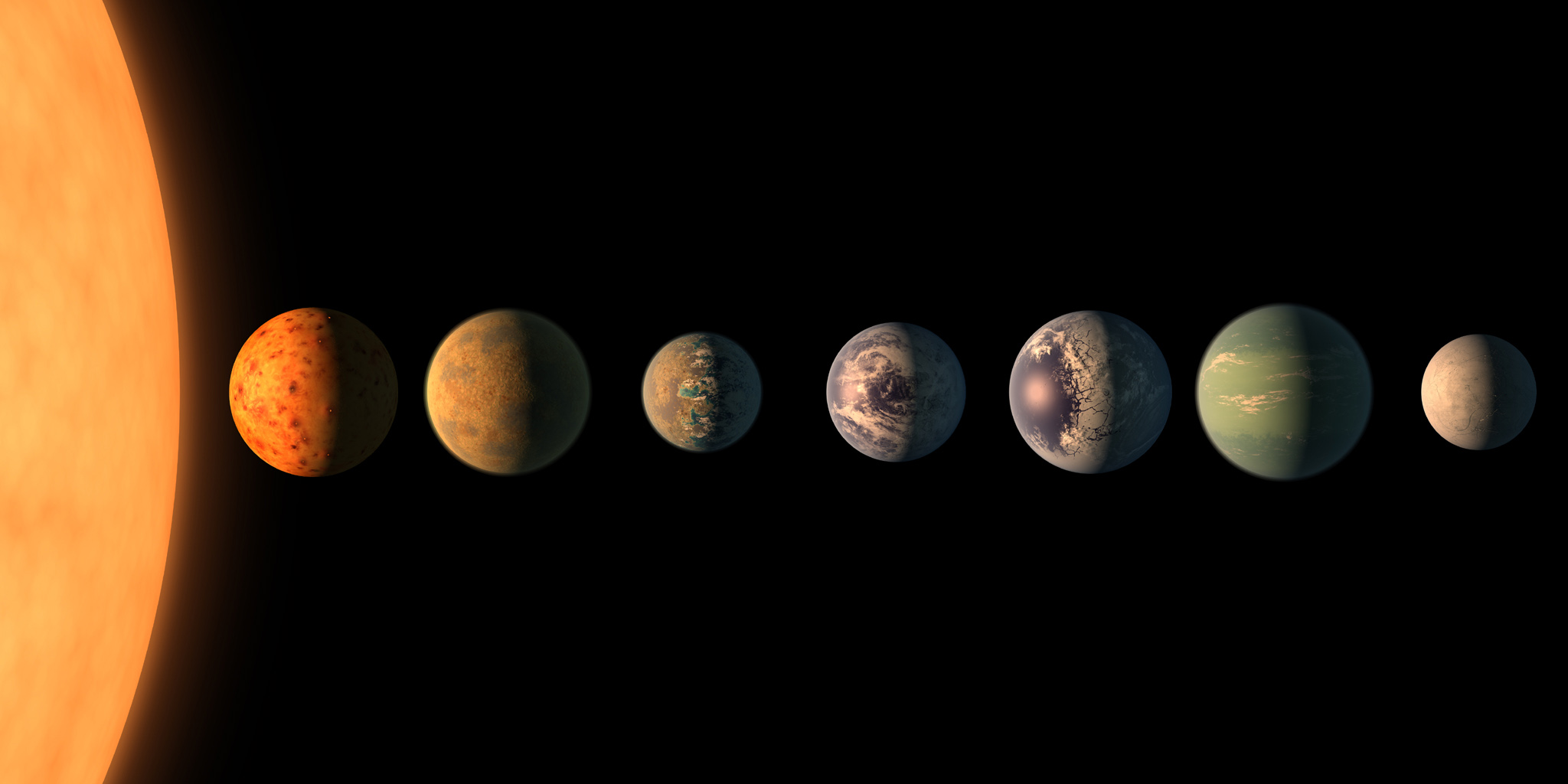 This artist's concept shows what each of the TRAPPIST-1 planets may look like, based on available data about their sizes, masses and orbital distances.