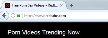 Screenshot of the RedTube URL, shown in Firefox.