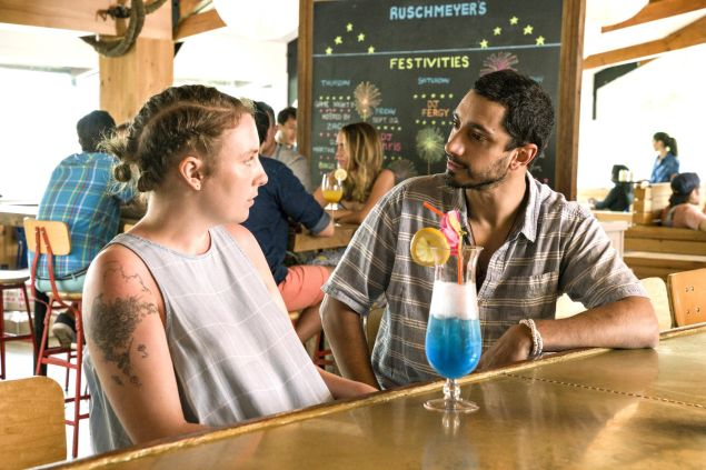 Lena Dunham and Riz Ahmed in the premiere of the final season of GIRLS.