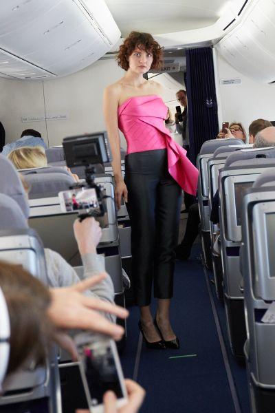 Fashion on a plane, à la Rubin Singer.