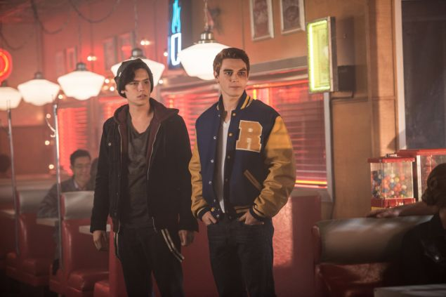 Cole Sprouse as Jughead Jones and KJ Apa as Archie Andrews.