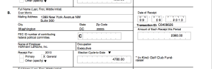 "Pascrell FEC reports list Morris' $2380 donation as ""In-Kind: Golf Club Fundraiser."""