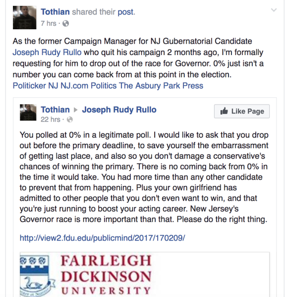 "Michael Tothian resigned as Joseph ""Rudy"" Rullo's campaign manager and is now sizzling him on social media."
