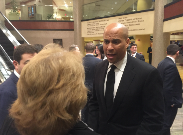 """U.S. Senator Cory Booker weighed in on the resignation of one of President Donald Trump's key advisors at the reception for the N.J. Chamber of Commerce's annual """"Walk to Washington."""""""