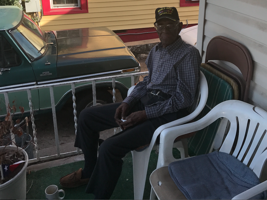 Richard Overton sitting on his porch in 2017.