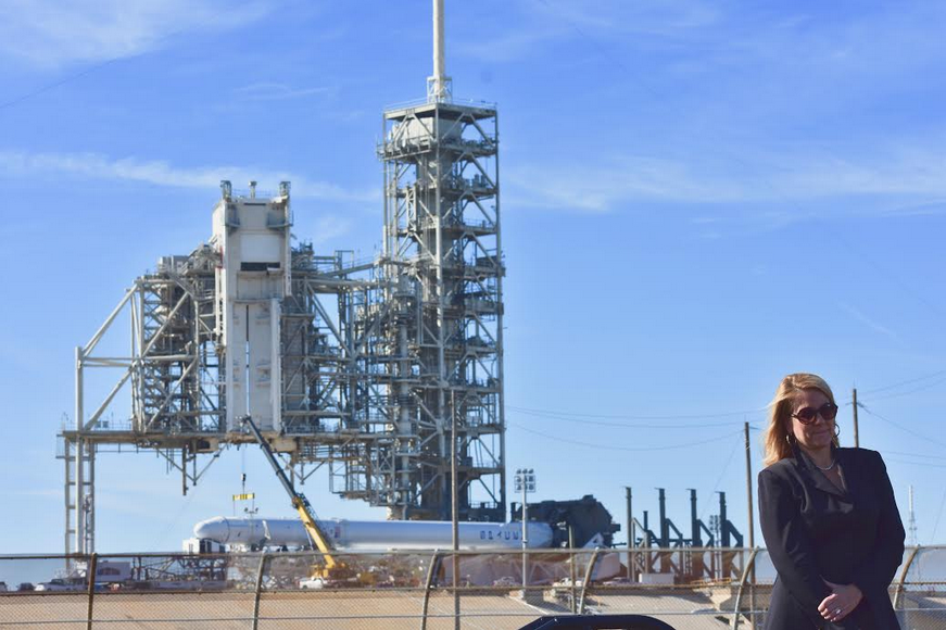 SpaceX President Gwynne Shotwell at Kennedy Space Center LC-39A.