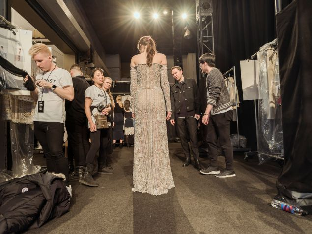 A model prepares to walk the runway at Simkhai's Saturday night show.