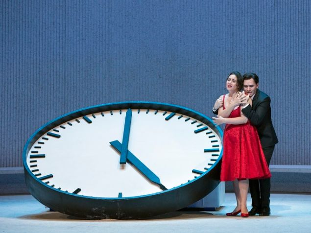 "Time is running out for Violetta (Sonya Yoncheva) and Alfredo (Michael Fabiano) in 'La Traviata""."