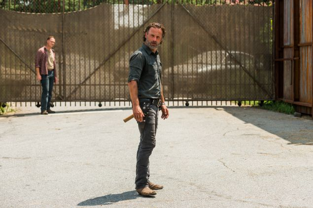 Andrew Lincoln as Rick Grimes and Jason Douglas as Tobin.
