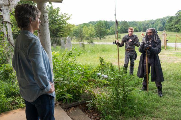 Melissa McBride as Carol Peletier, Daniel Newman as Daniel and Khary Payton as Ezekiel.