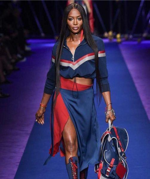 Naomi Campbell modeling Versace