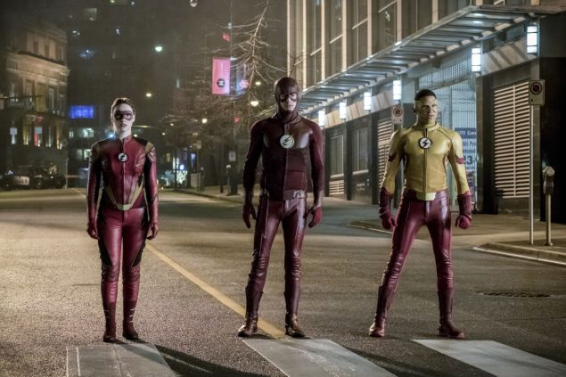 Violett Beane as Jesse Quick, Grant Gustin as The Flash and Keiynan Lonsdale as Kid Flash.