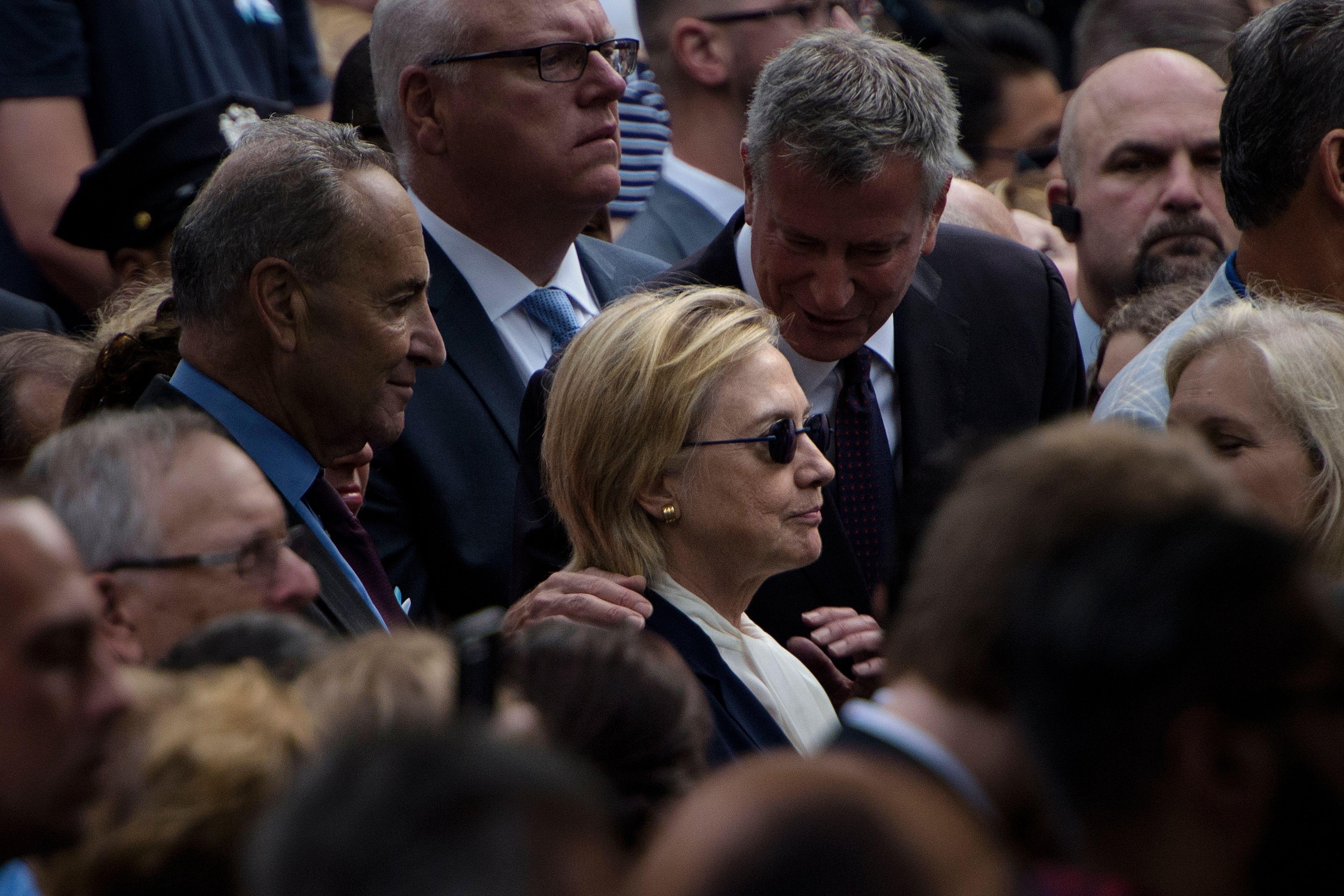New York City Mayor Bill de Blasio and Hillary Clinton.
