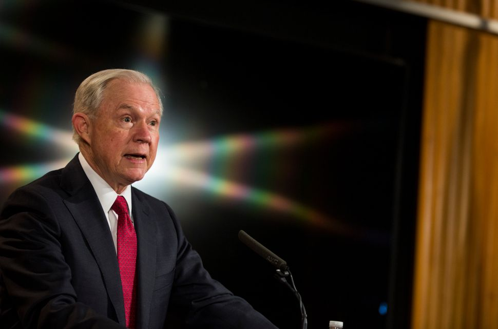 "WASHINGTON, D.C. - FEBRUARY 28: U.S. Attorney General Jeff Sessions delivers remarks at the Justice Department's 2017 African American History Month Observation at the Department of Justice on February 28, 2017 in Washington, D.C. The event also included a showing of the documentary ""Too Important to Fail: Saving America's Boys."""