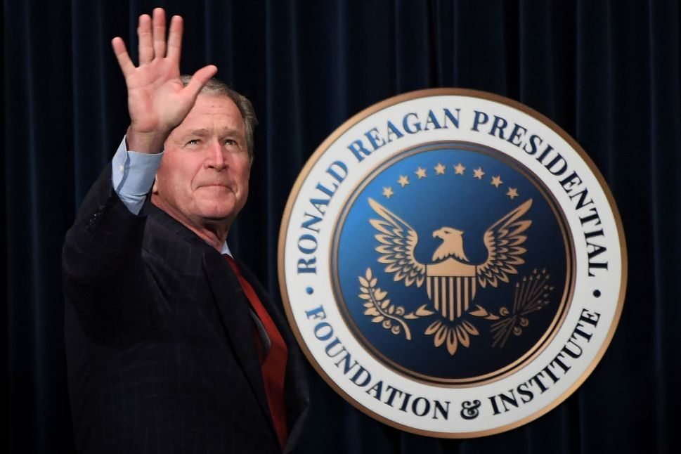 Former president George W. Bush before speaking at the Ronald Reagan Presidential Library to promote his book on March 1, 2017.