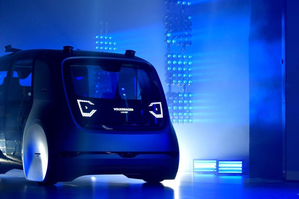 GENEVA, SWITZERLAND - MARCH 06: A Volkswagen AG (VW) 'Cedric' self-driving automobile is presented during the Volkswagen Group Shaping The Future / Create Innovation event ahead of the 87th Geneva International Motor Show on March 6, 2017 in Geneva, Switzerland. The International Motor Show showcase novelties of the car industry. (Photo by Harold Cunningham/Getty Images)