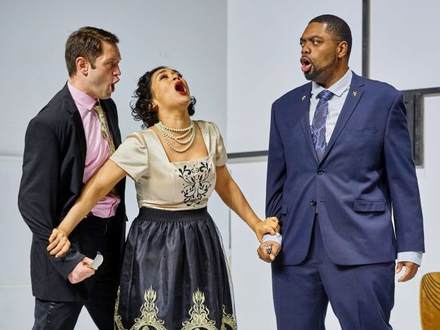Desdemona (Cecilia López) tries to stop the bloodshed in LoftOpera's 'Otello'.