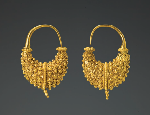 Greek Gold Granulated Boat-Shaped Earrings