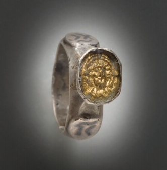 Late Byzantine Silver Ring with inlaid gold signet with head of Jesus Christ, 15th Century