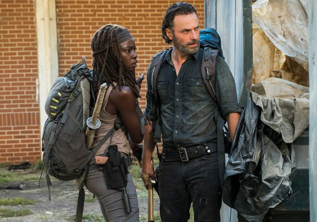 Danai Gurira as Michonne and Andrew Lincoln as Rick Grimes.