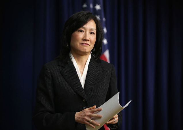 """WASHINGTON, DC - FEBRUARY 20: Deputy director of the Patent and Trademark Office Michelle Lee during an event on the patent system February 20, 2014 at the South Court Auditorium of the Eisenhower Executive Office Building in Washington, DC. The event was to discuss the administration's """"commitment to strengthening the patent system to ensure it encourages innovation and invention, inspires and rewards creativity, drives investment, and spurs job creation."""" (Photo by Alex Wong/Getty Images)"""