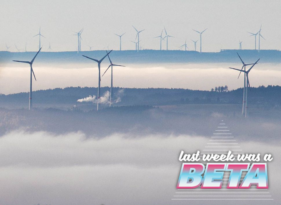 Wind turbines are seen in the Vortaunus area, from the top of the Grosser Feldberg mountain, near Schmitten, central Germany, on a foggy December 07, 2016. / AFP / dpa / Frank Rumpenhorst / Germany OUT (Photo credit should read FRANK RUMPENHORST/AFP/Getty Images)