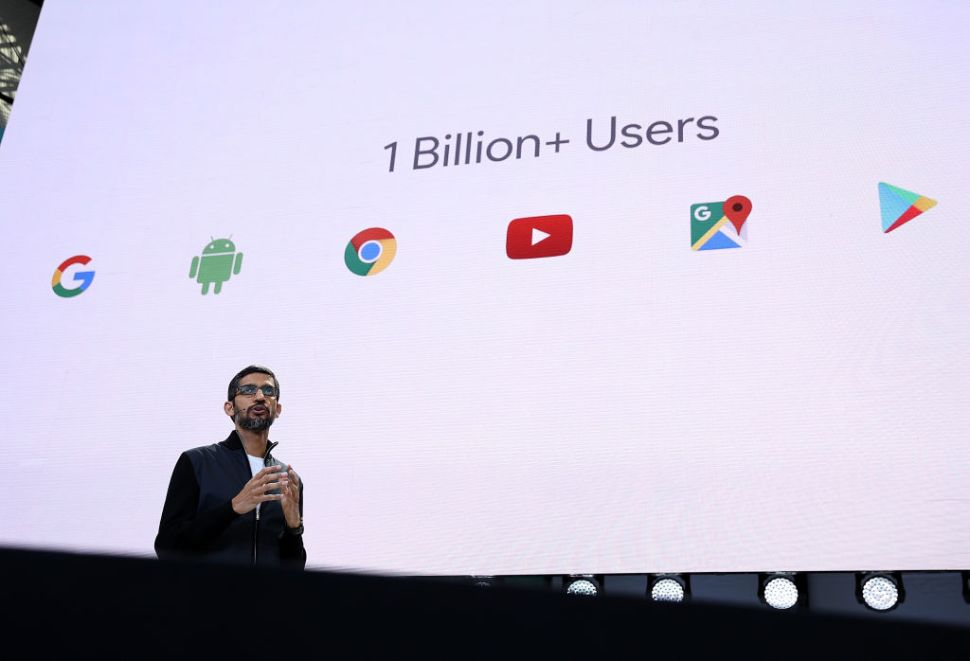 MOUNTAIN VIEW, CA - MAY 17: Google CEO Sundar Pichai delivers the keynote address at the Google I/O 2017 Conference at Shoreline Amphitheater on May 17, 2017 in Mountain View, California. The three-day conference will highlight innovations including Google Assistant. (Photo by Justin Sullivan/Getty Images)