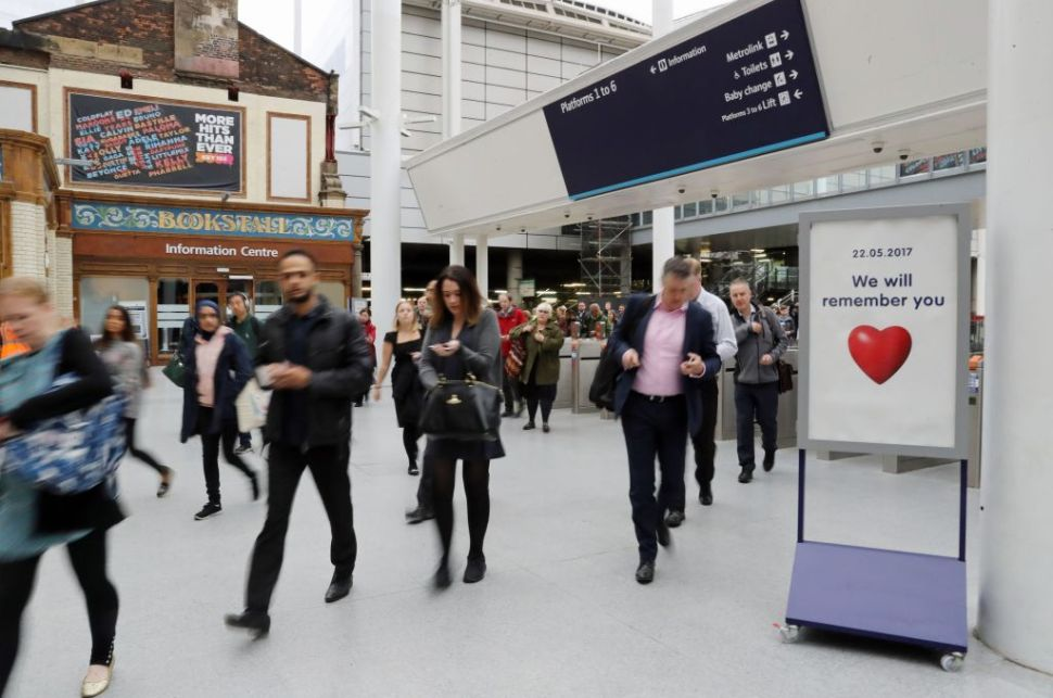 Manchester Victoria railway station which has reopened one week after being the the scene of a terror attack in Manchester, northern England on May 30, 2017.