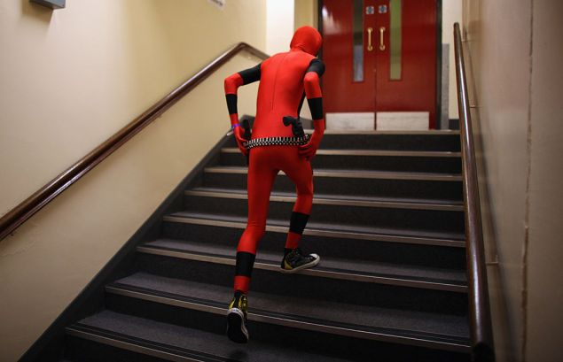 MIDDLESBROUGH, ENGLAND - JUNE 18: Cosplay enthusiast Ashley Cochran, 18, attends the North East Manga and Anime Convention (NemaCon) dressed as Marvel Comics charater Dead Pool at Middlesborough Town Hall on June 18, 2011 in Middlesbrough, England. Hundreds of Manga, Anime and Cosplay enthusiasts gathered for NemaCon 2011. Cosplay is short for Costume Play where players dress and perform roles from Japanese culture, Anime and Manga art characters. Many subcultures have also evolved inspired by video games, American cartoons and comics. (Photo by Christopher Furlong/Getty Images)