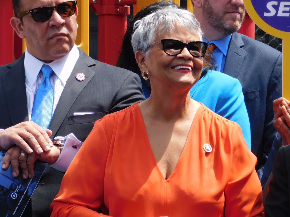 U.S. Rep. Bonnie Watson Coleman at a press event in Newark.
