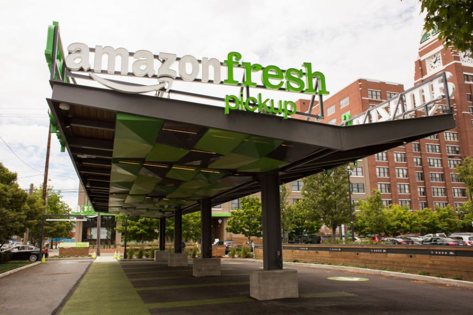 SEATTLE, WA - JUNE 16: An AmazonFresh Pickup location is seen on June 16, 2017 in Seattle, Washington. Amazon announced that it will buy Whole Foods Market, Inc. for over $13 billion dollars. (Photo by David Ryder/Getty Images)