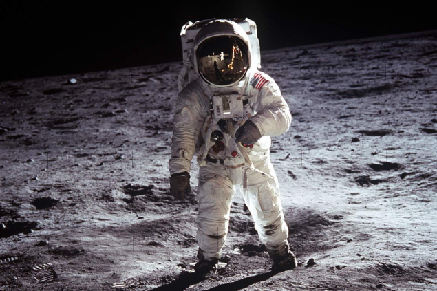 A photo of Buzz Aldrin walking on the moon taken by Neil Armstrong during the Apollo 11 mission.