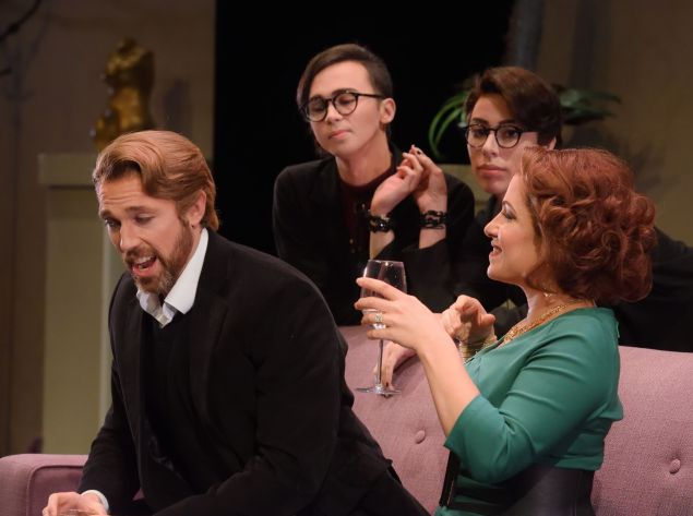 Baritone Wes Mason (left) endures the dullest orgy ever in 'Three Way'.