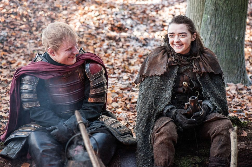 Episode 61 (season 7, episode 1), debut 7/16/17: Ed Sheeran, Maisie Williams. photo: Helen Sloan/courtesy of HBO