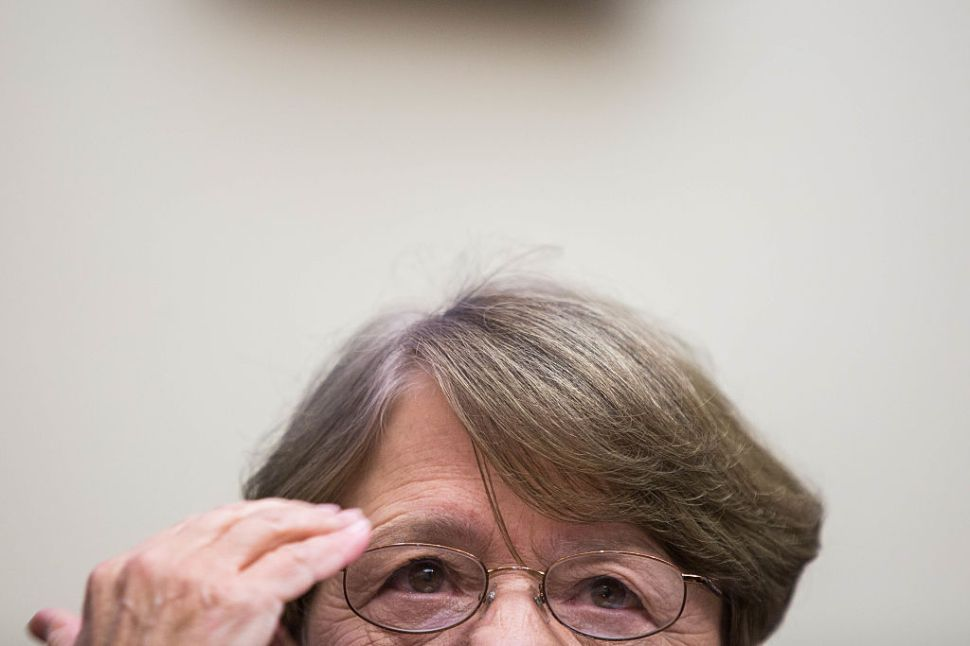 WASHINGTON, D.C. - NOVEMBER 09: SEC Chairman Mary Jo White testifies during a House Financial Services Committee hearing on Capitol Hill on November 15, 2016 in Washington, D.C. United States. Mary Jo White plans to step down in January, opening the door for a Republican SEC chairman, appointed by President-elect Donald Trump. (Photo by Zach Gibson/Getty Images)