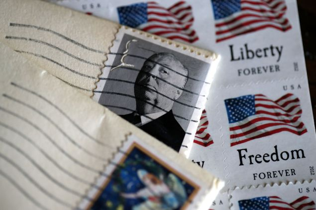 SAN ANSELMO, CA - MAY 10: U.S. Postal Service stamps are displayed on May 10, 2017 in San Anselmo, California. The U.S. Postal Service is seeking to raise the price of stamps by a penny or more after reporting a quarterly loss of $562 million as the use of first-class mail continues to decline. (Photo Illustration by Justin Sullivan/Getty Images)