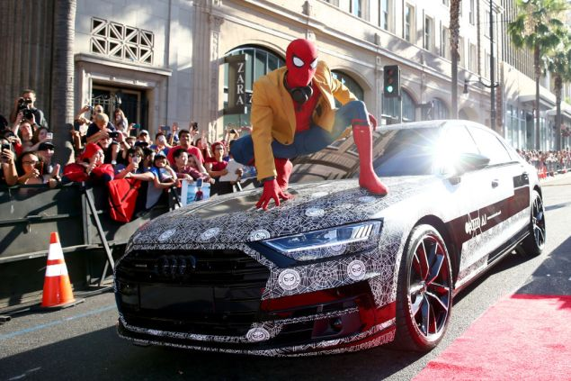 HOLLYWOOD, CA - JUNE 28: Actor dressed as Spider-Man attends the World Premiere of 'Spider-Man: Homecoming' hosted by Audi at TCL Chinese Theatre on June 28, 2017 in Hollywood, California. (Photo by Joe Scarnici/Getty Images for Audi)