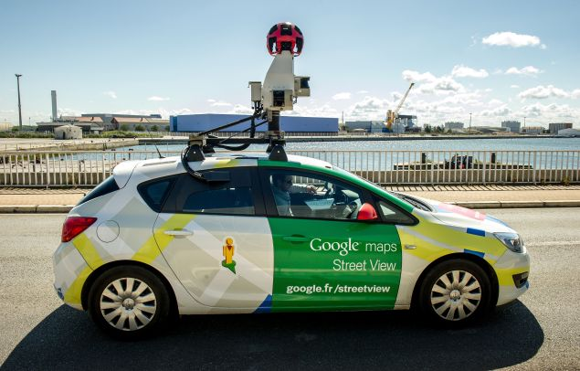 A Google Street View vehicle collects imagery for Google Maps while driving down a street in Calais, northern France, on July 29, 2015. AFP PHOTO / PHILIPPE HUGUEN (Photo credit should read PHILIPPE HUGUEN/AFP/Getty Images)