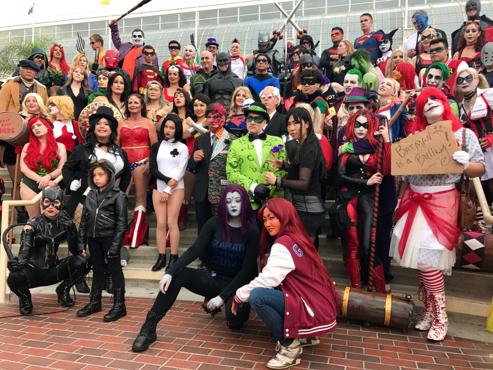 DC cosplayers on the steps of the convention center (header photo)