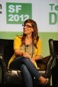 SAN FRANCISCO, CA - SEPTEMBER 10: Leah Busque founder of TaskRabbit speaks at the Tech:Crunch Disrupt SF 2012 Conference on September 10, 2012 in San Francisco, California. (Photo by C Flanigan/Getty Images)