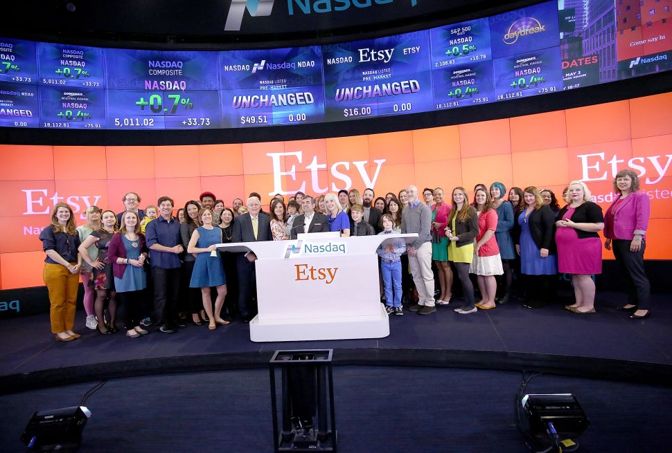 NEW YORK, NY - APRIL 16: (L-R) CEO Nasdaq Bob Greifeld, Kristina Salen, Etsy's CFO ,Chad Dickerson, Chairman and CEO of Etsy along with Etsy Sellers ring the Nasdaq Opening Bell in Celebration of IPO at Nasdaq on April 16, 2015 in New York City. (Photo by Paul Zimmerman/Getty Images for NASDAQ)