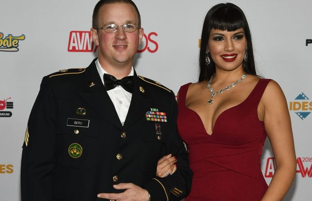 LAS VEGAS, NV - JANUARY 23: U.S. Army Sgt. Anthony Berg (L) and adult film actress Mercedes Carrera attend the 2016 Adult Video News Awards at the Hard Rock Hotel & Casino on January 23, 2016 in Las Vegas, Nevada. (Photo by Ethan Miller/Getty Images)