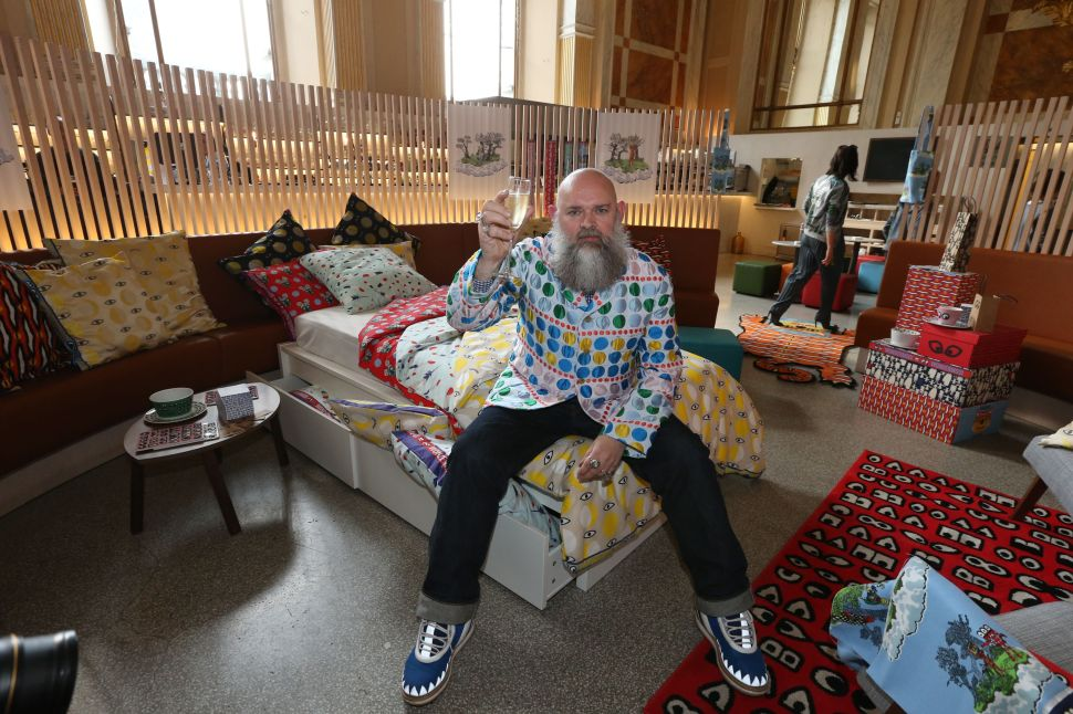 Belgian fashion designer Walter Van Beirendonck poses during the presentation of new Ikea collection Glodande he designed, on May 26, 2016 at the Antwerp Central Station. / AFP / Belga / Nicolas MAETERLINCK / Belgium OUT (Photo credit should read NICOLAS MAETERLINCK/AFP/Getty Images)